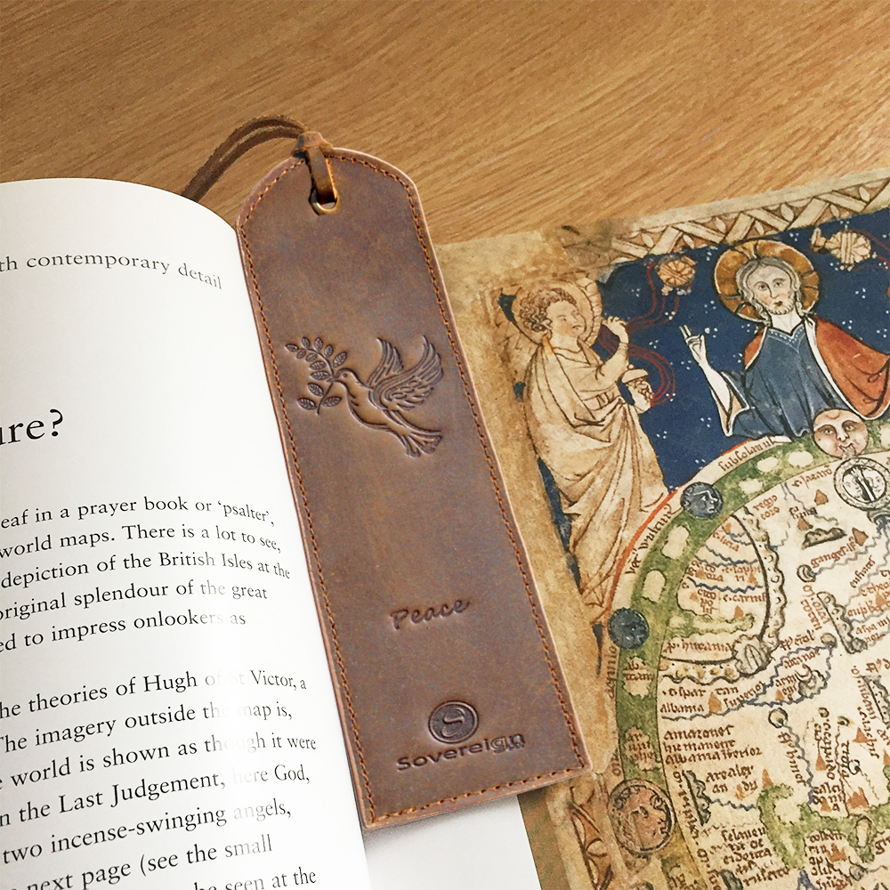 antique vintage leather bookmark for men dove of peace features