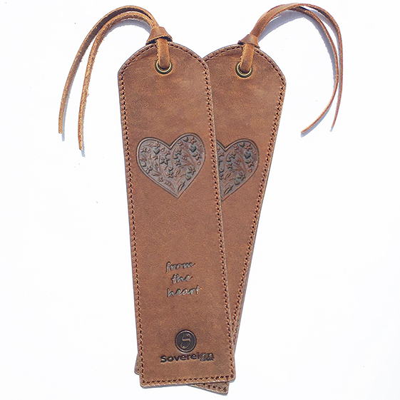 heart embossed leather bookmark for women
