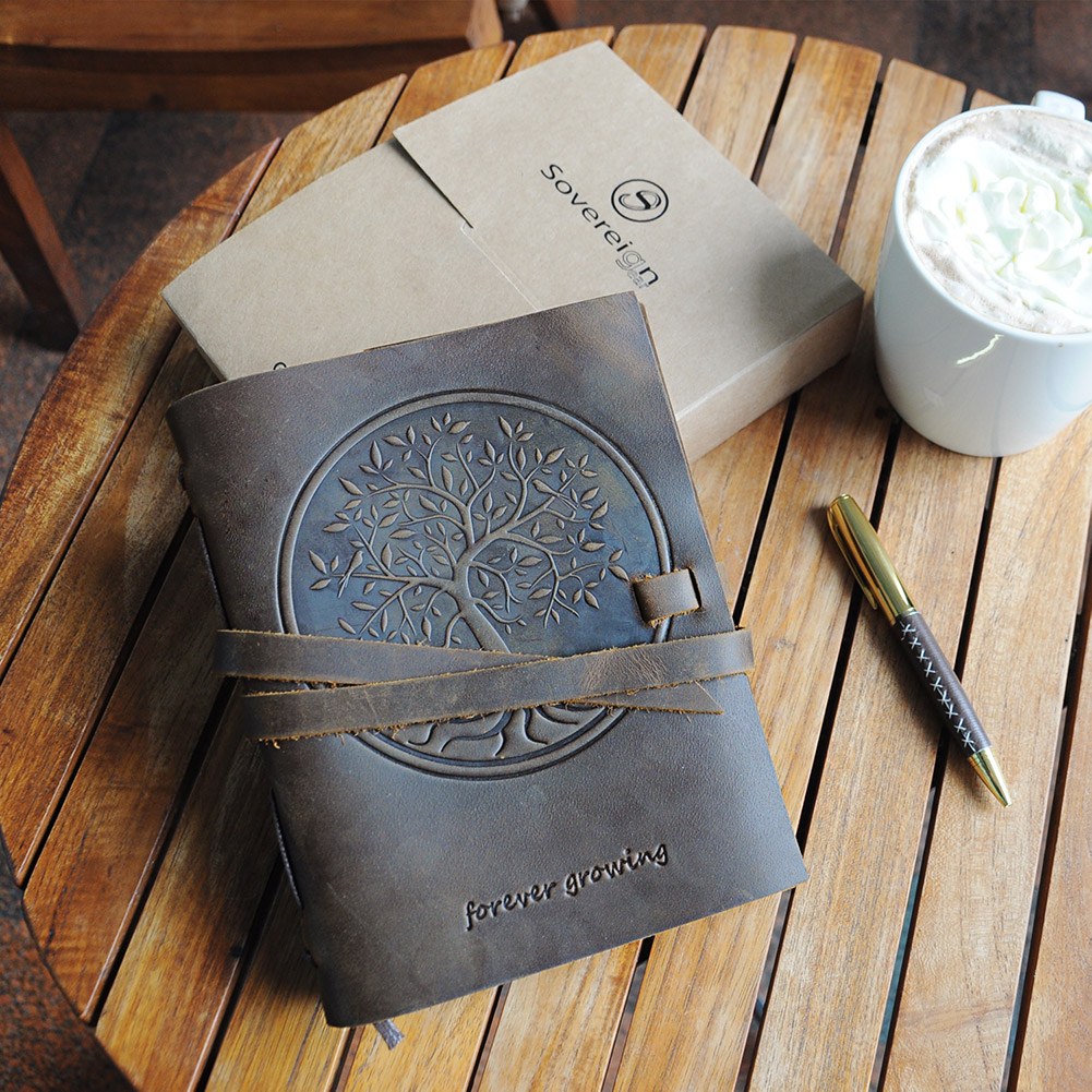 tree of life leather journal for men and women