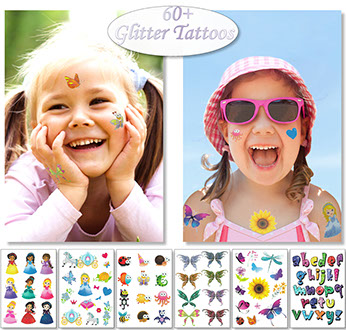Kids Glitter Temporary Tattoos For Children's Party Favors Bag Fillers Princess Butterfly Hearts Flowers