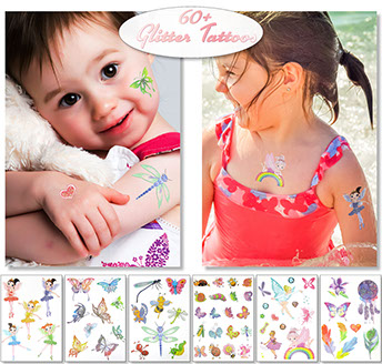 Kids Glitter Temporary Tattoos For Children's Party Favors Bag Fillers Fairy Pixie Rainbow Dragonfly Feather