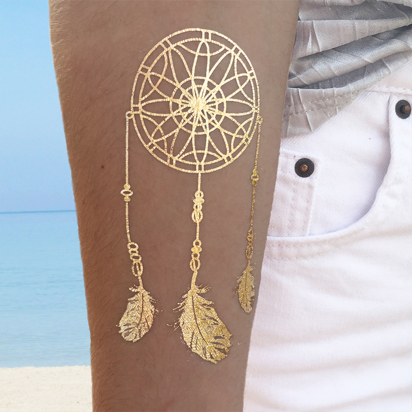 metallic temporary tattoos for girls and teens dream catcher